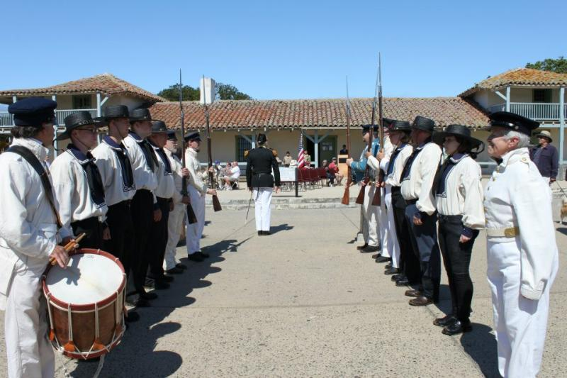 Cyane Honor Guard waiting for Commodore Sloat