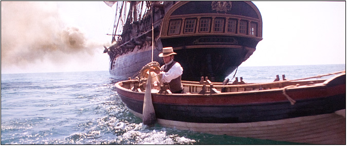 One of our ships boats in a scene from Master and Commander